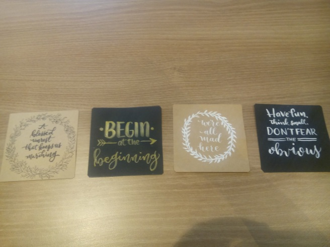 These little brush art notes were made for Php 50 each.